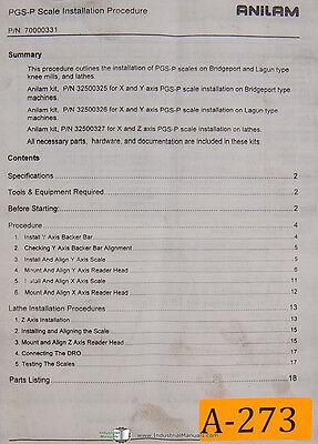 Anilam Pgs-p Scale Installation Parts For Bridgeport Lagun Mills Manual 1996