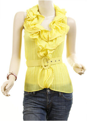 Victorian Chiffon Layer Ruffle Tulle Faux Silk Halter Belted Blouse Shirt Top YL