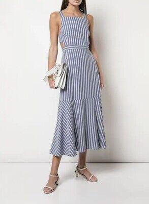Tibi Dress 12 Striped Twill Cutout Button Strap Pockets Midi Blue White