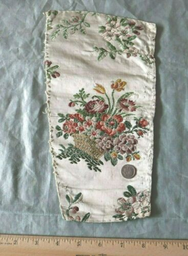 "Antique 18thC Floral Basket Silk Brocade Fabric~Dolls,Collectors~L-11.5""X W-6"""