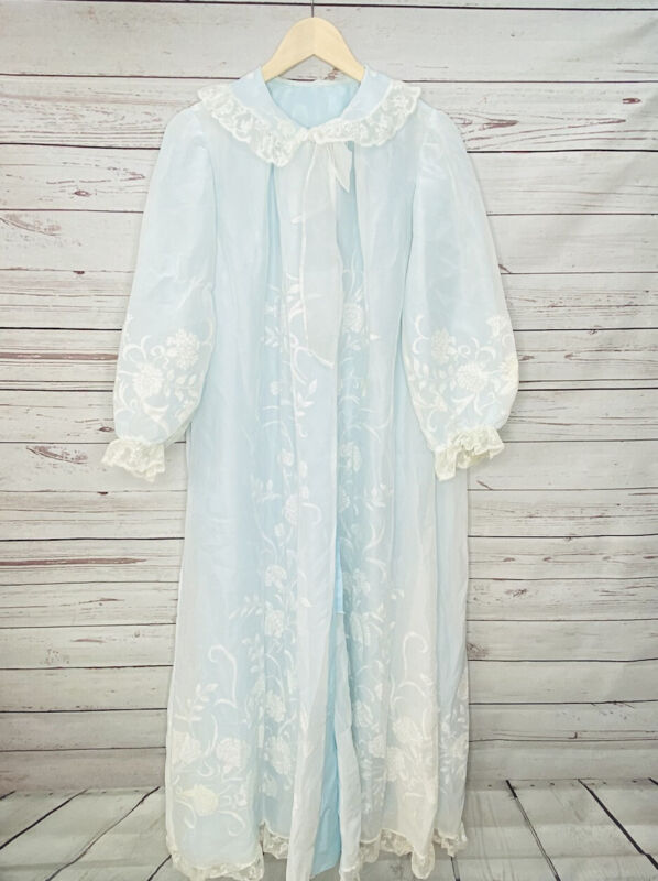 Vintage 1950s Odette Barsa Nylon Chiffon Nightgown & Robe Light Blue Lace Large