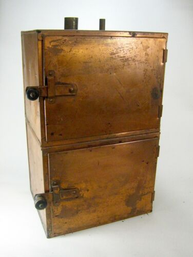 Vintage Solid Copper Vented Chemistry Cabinet with Steel Shelves