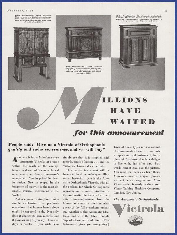 Vintage 1928 VICTROLA Orthophonic 954 1069 1035 Radio Phonograph 20