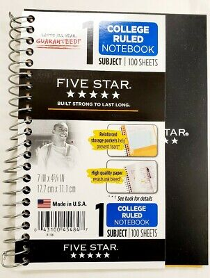 Five Star Personal Spiral Notebook 7x438 100 Sheets College Rule Assorted