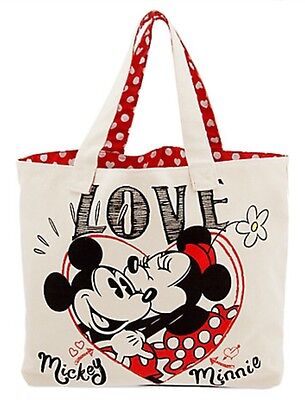 Disney store Mickey and Minnie Mouse Canvas Tote new with tag