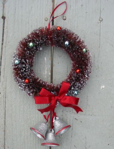Vtg Bottle Brush Christmas Wreath Glitter Flocking Tin Bells Metallic Bead Balls