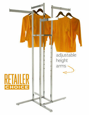 Only Hangers Heavy Duty Chrome 4 Way Rectangular Arm Clothing Rack