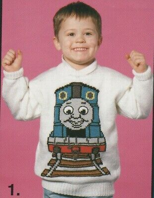 Vintage Intarsia Knitting Pattern Of Thomas The Tank Engine  22 - 40 Chest (211)