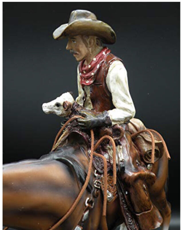 WESTERN COWBOY HOLDIND BABY CALF SCULPTURE STATUE LARGE HAND PAINTED