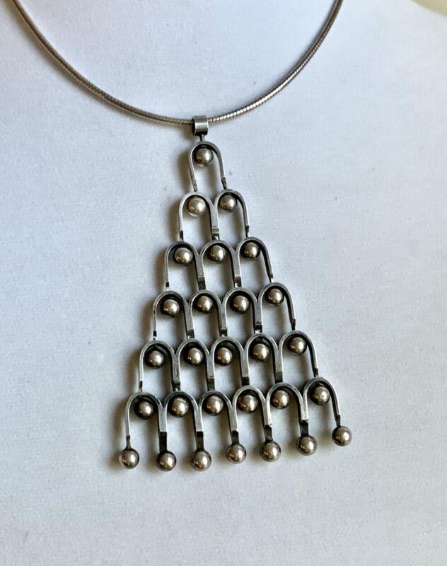 Vintage c1973 Erik Granit & Co Finland Huge Sterling Silver Necklace Pendant