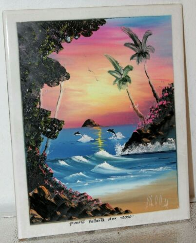Dolphin Beach Sunset Tile from Mexico 8 x 10 Hand Painted Signed & Dated