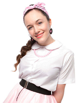 White Peter Pan Collar Button Up Blouse - Teen to Adult Size - Hey Viv 50 Style