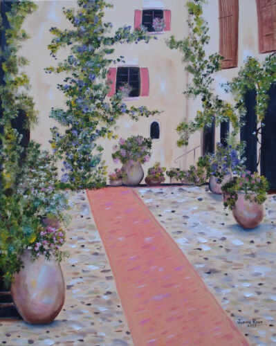 original oil painting landscape vines home house courtyard canvas signed decor
