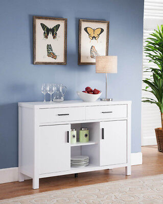 151199 Smart Home Modern Buffet Serving Table Furniture (White)