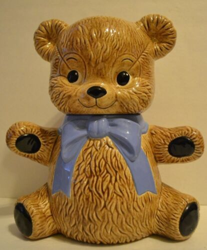 "Teddy Bear Cookie Jar Brown with Blue Bow Kitchen Animal Container 12"" EUC"