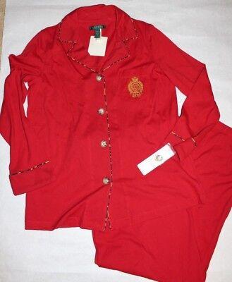 LAUREN RALPH LAUREN Women's Solid Red 2 Pc Garment Set Young Royals Size M