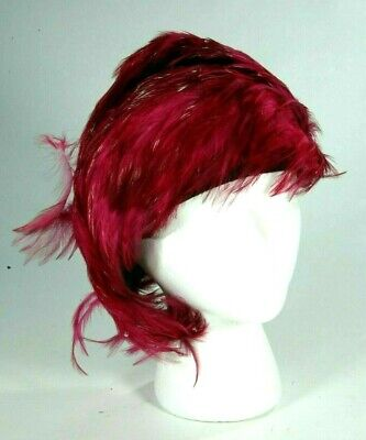 Used, Vintage Jack McConnell Pink Magenta Pheasant Feather Asymmetrical Church Hat for sale  Port Murray