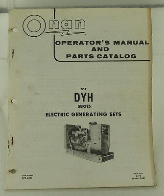 Vintage Onan Dyh Series Generator Genset Operators Manual Parts Catalog