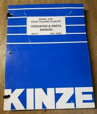 Kinze 3700 Front Folding Planter Operatorparts Manual M0171 1004 1j-2473-y15