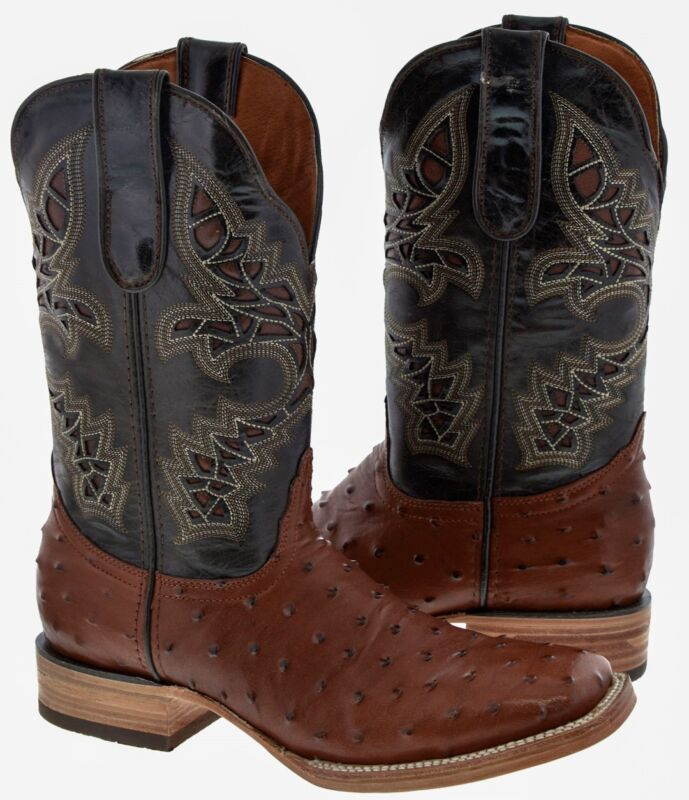 Mens, Cognac, Broad, Square, Toe, Ostrich, Skin, Print, Western, Leather, Cowboy, Boots