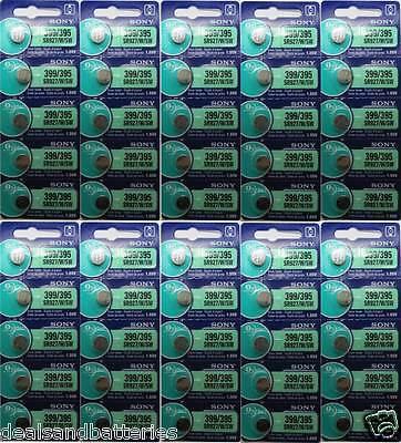 50 Sony 395/399 SR927SW/SR927W Silver Oxide 1.55v 0% MERCURY Batteries