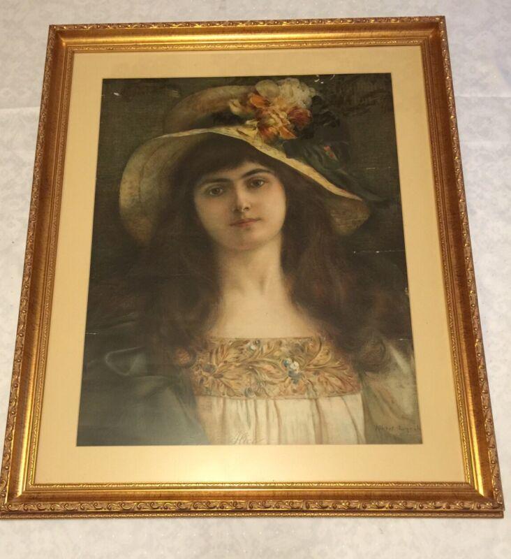 Antique 1907 PALMER GOODRICH TIRE Goodrich Girl ALICE Advertising Poster Framed