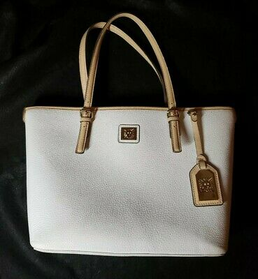 Women's Anne Klein Hand Bag White Leather with Tan Trim Purse