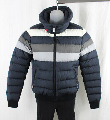 Perfect Moment Navy White Gray Striped Zip Front Athletic Puffer Jacket Coat S