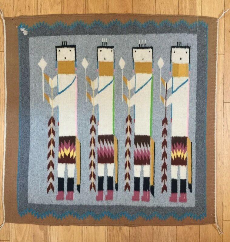 Vintage Estate 1968 Navajo 4 Figure Yei Rug Tapestry