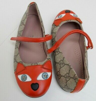 Gucci Girls Logo Orange Cat Leather Shoes Size EURO 32 / US 13.5 Made in Italy!