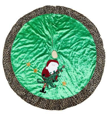 44 In Green Vevet Santa Leopard Print Christmas Tree Skirt