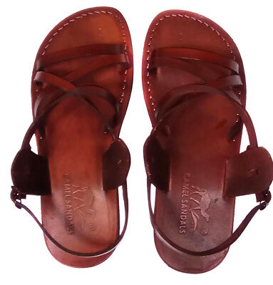 Camel Jesus Sandals Brown Genuine Leather Greek Roman US 5-12 EU 36-46 For - Mens Roman Sandals