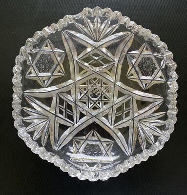 "Vintage Crystal Ashtray Star of David Clear Cut Retro Mid Century 5"" Diameter"
