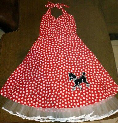 Red Poodle Skirt Costume (Poodle Skirt Dress Costume 50s 60s Theme Polka Dot Red Halter Handmade)
