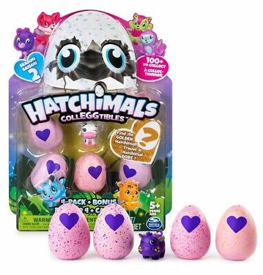 NEW 4-Pack Hatchimals CollEGGtibles Hatching Eggs +Bonus Figure Season 2