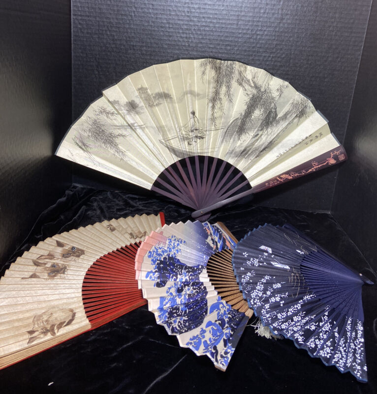 Vintage Hand Held Silk Wood And Paper Fans CARVED BAMBOO HAND FAN Signed