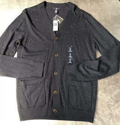 NWT Gap Mens Size M Cardigan Sweater Long Sleeve Button Down Navy, Medium
