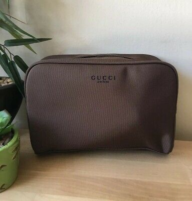 Gucci Guilty Men's Brown Beauty Toiletry Bag Travel Overnight Shaving Bag New