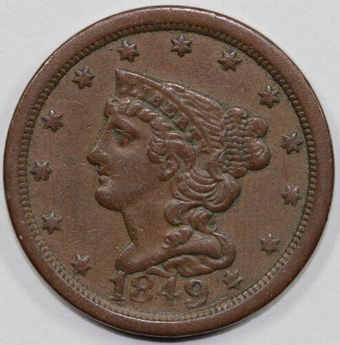 1849 1/2c Braided Hair Half Cent UNSLABBED