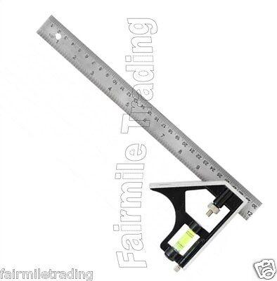 """Metal Adjustable Combination Tri Square 12"""" 300mm Try Set Slide Ruler Workshop"""