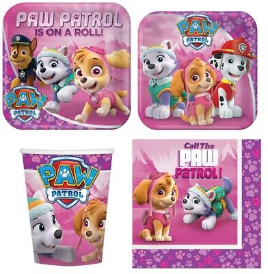 Paw Patrol Girl Party Supplies Express Pack for 8 Guests (Cups Napkins & Plates)