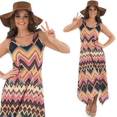 Ladies 1960s Long Hippie Hippy Maxi Fancy Dress - Hippie Fancy Dress Plus Size