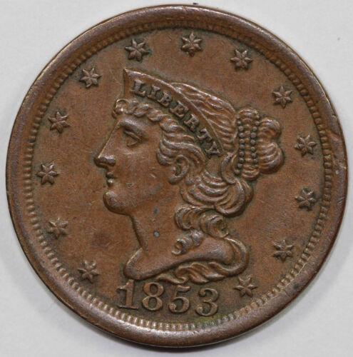 1853 1/2c Braided Hair Half Cent UNSLABBED