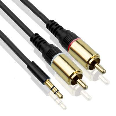 Audio Kabel - 3,5mm Klinke auf 2x Cinch - RCA zu Jack, Chinch zu AUX Klinke 3m 5 Kabel Audio