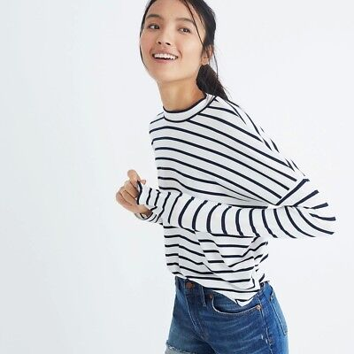 Madewell Long Sleeve Mockneck Top In Stripe - Navy & White Striped Tee - NWT ()