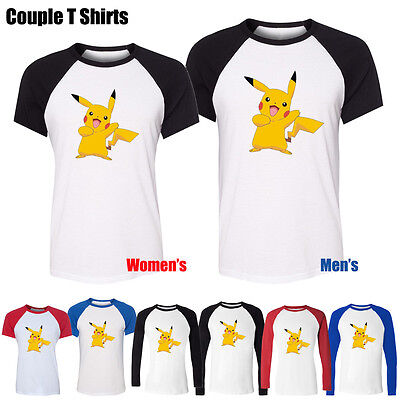 Cute Pokemon Couples (Cute Funny Cartoon Pikachu Pokemon Couple T-Shirt Women's Men's Graphic Tee)