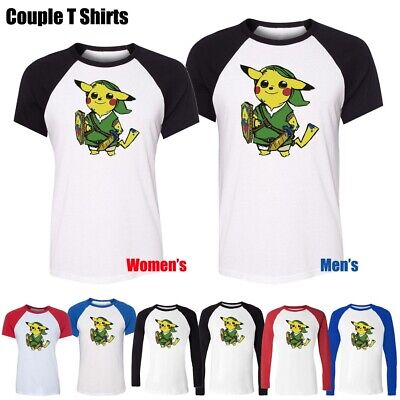Cute Pikachu Link Pokemon Zelda PikaLink Funny Graphic Tee Couples T-Shirt Tops - Cute Pokemon Couples