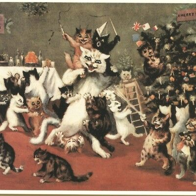 LOUIS WAIN..CATS WILD CHRISTMAS PARTY,BIO INFORMATION,REPRODUCTION GREETING CARD