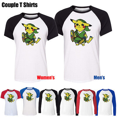 Cute Pokemon Couples (Cute Pikachu Link Pokemon Zelda PikaLink Couple T-Shirt Womens Mens Graphic)