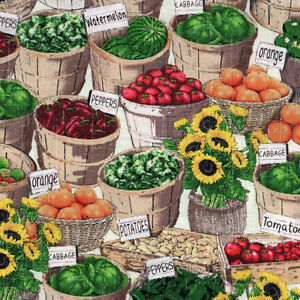 Windham Farm Stand Fruit Vegetable Baskets Market Stall Cotton Quilting Fabric